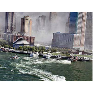 Boats coming in to help with the evacuation. *Picture property of NY Police Dept