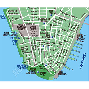 "The very tip of Manhattan (Battery Park) was where we ran around in the chaos of the towers falling. Our apartment building is located at the first ""s""- where ""West Side Expressway"" is written."