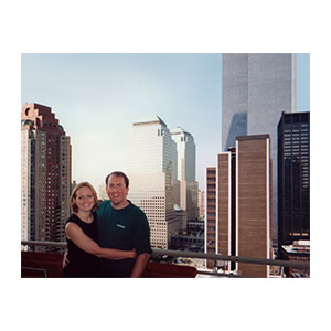 This is the only picture I have of Brian and me on our terrace with the towers in the background.