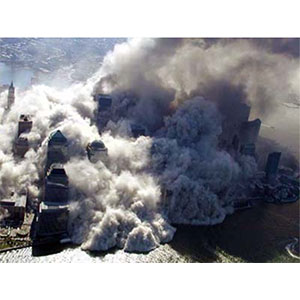 A huge amount of dust and debris were dumped on a large radius of the WTC complex.